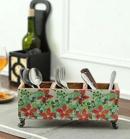 Wooden Fl Cutlery Stand